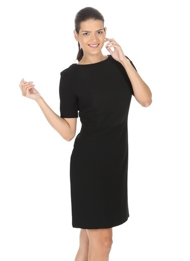 Cotton Bar Kısa Kollu Düz Elbise Siyah